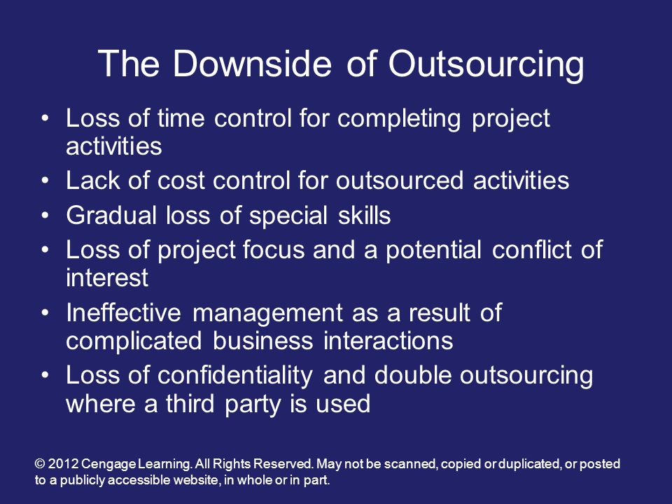 The Downside of Outsourcing