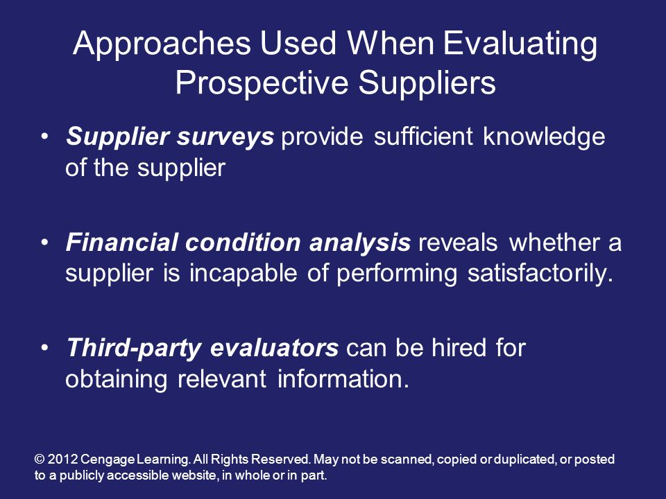 Approaches Used When Evaluating Prospective Suppliers