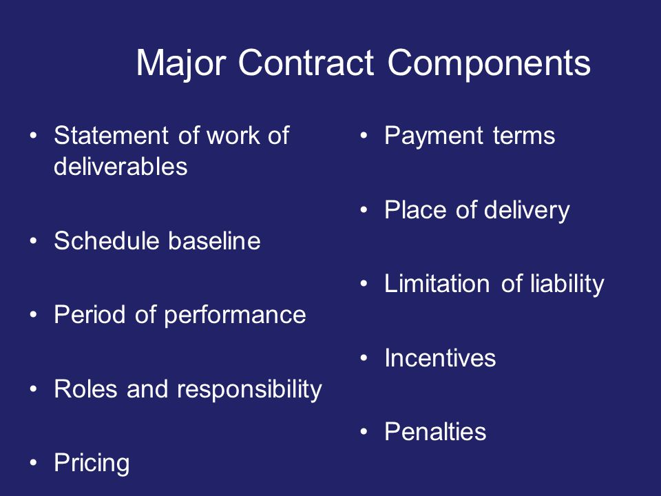 Major Contract Components