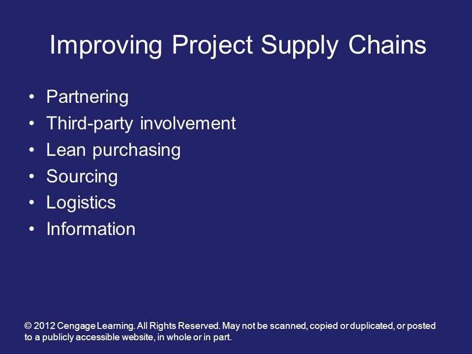 Improving Project Supply Chains