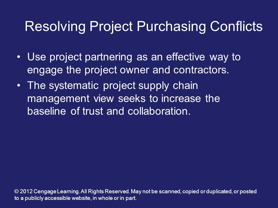 Resolving Project Purchasing Conflicts