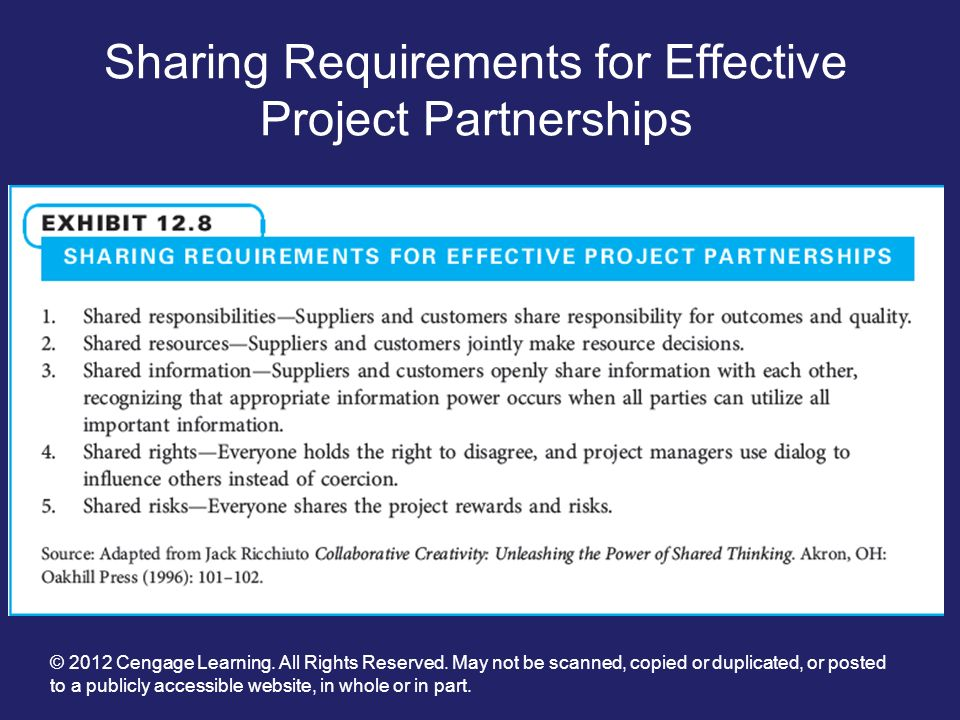Sharing Requirements for Effective Project Partnerships