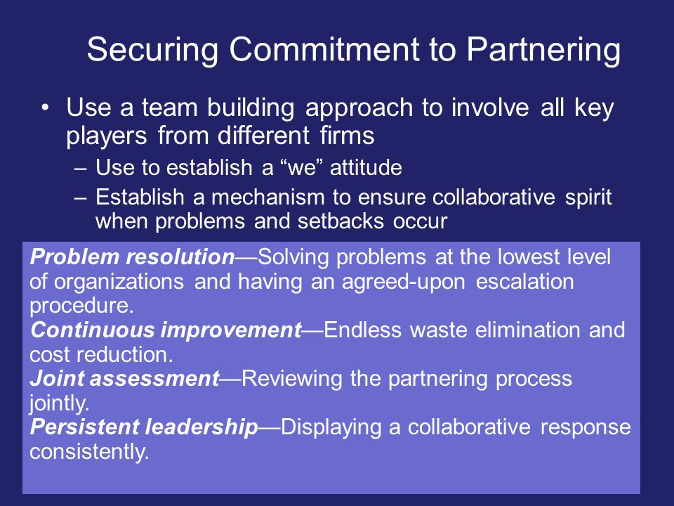 Securing Commitment to Partnering