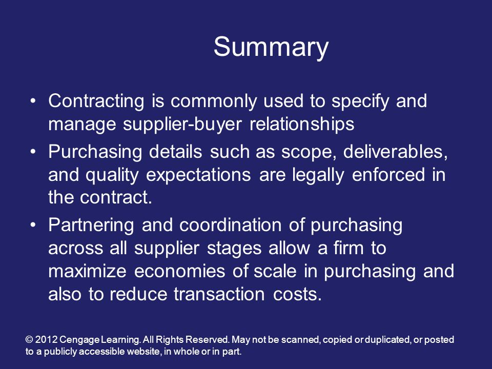 Summary Contracting is commonly used to specify and manage supplier-buyer relationships.
