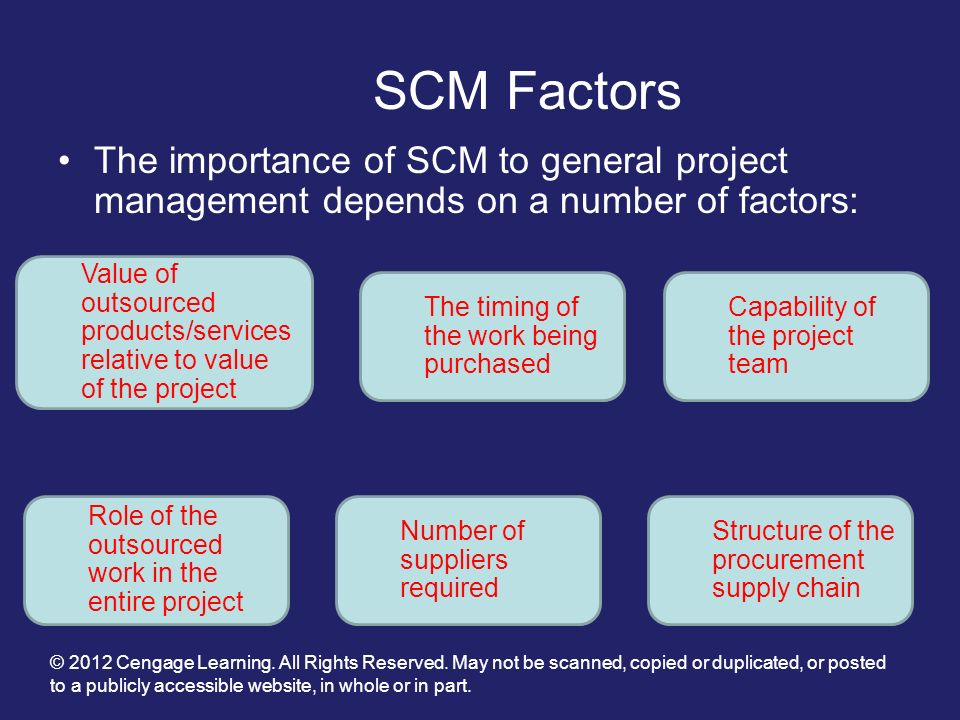 SCM Factors The importance of SCM to general project management depends on a number of factors: