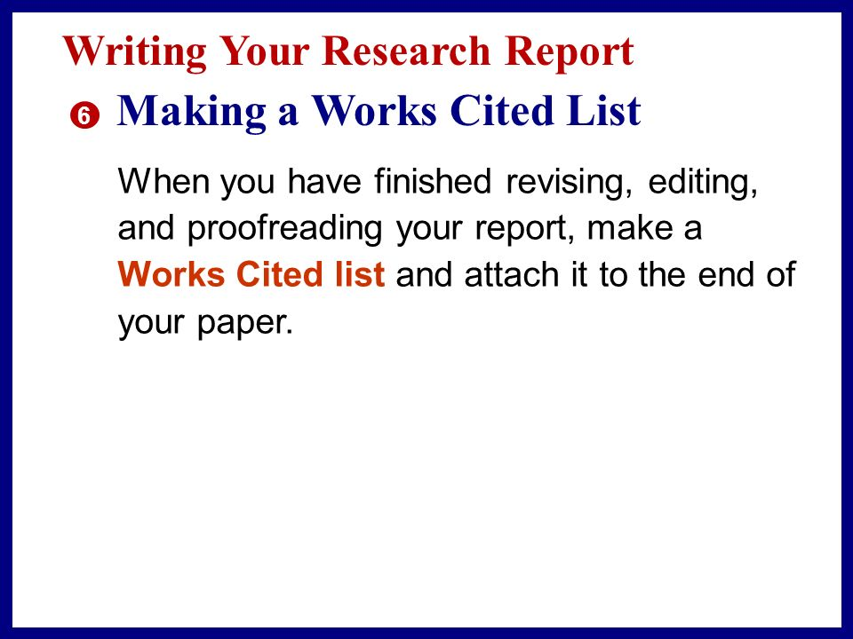 list works cited research paper Here is an article on works cited page and a bibliography  / the difference between works cited and  the end of a student's essay or research paper.