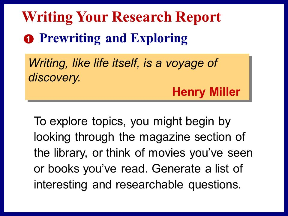 exploring a topic in depth ppt writing your research report