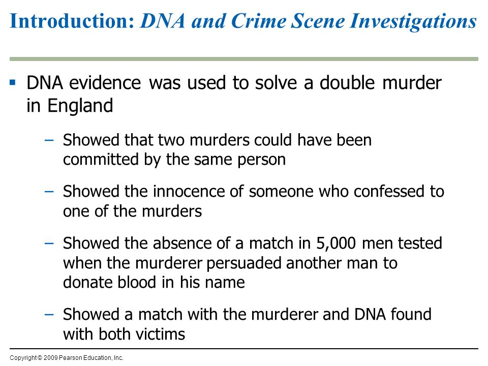 Introduction: DNA and Crime Scene Investigations