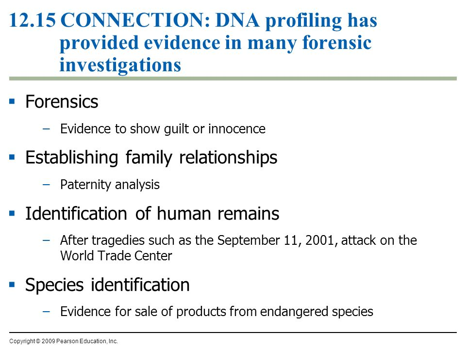 12.15 CONNECTION: DNA profiling has provided evidence in many forensic investigations