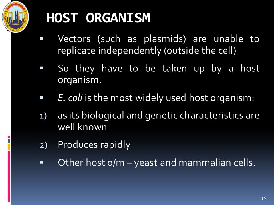 HOST ORGANISM Vectors (such as plasmids) are unable to replicate independently (outside the cell) So they have to be taken up by a host organism.