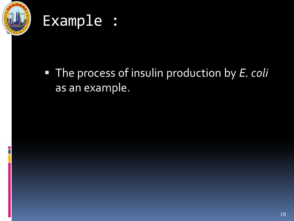 Example : The process of insulin production by E. coli as an example.