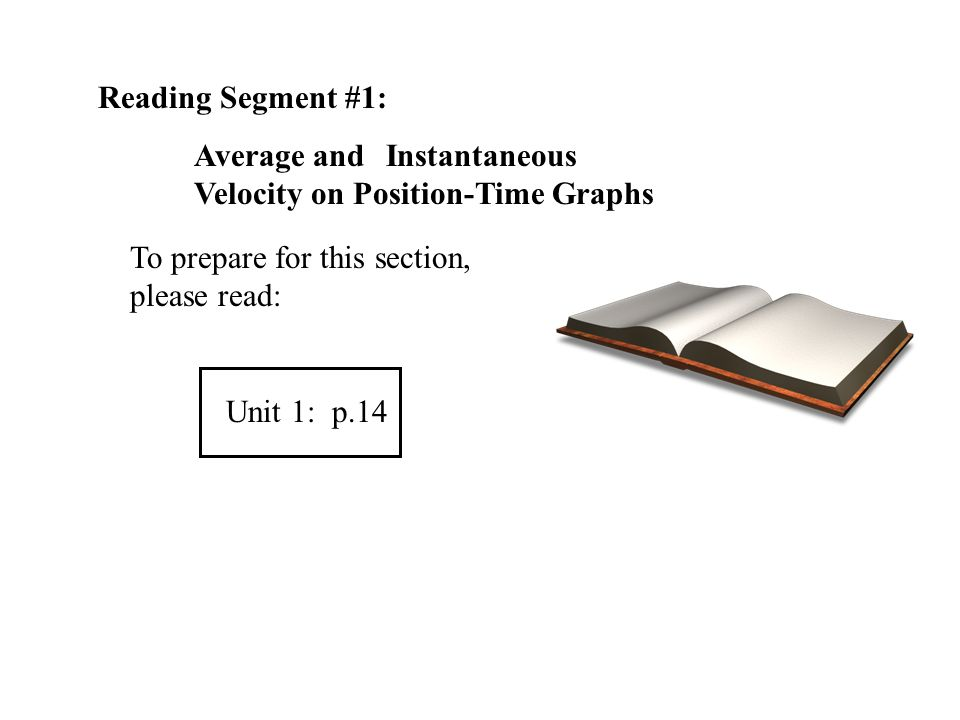 Reading Segment #1: Average and Instantaneous Velocity on Position-Time Graphs. To prepare for this section, please read: