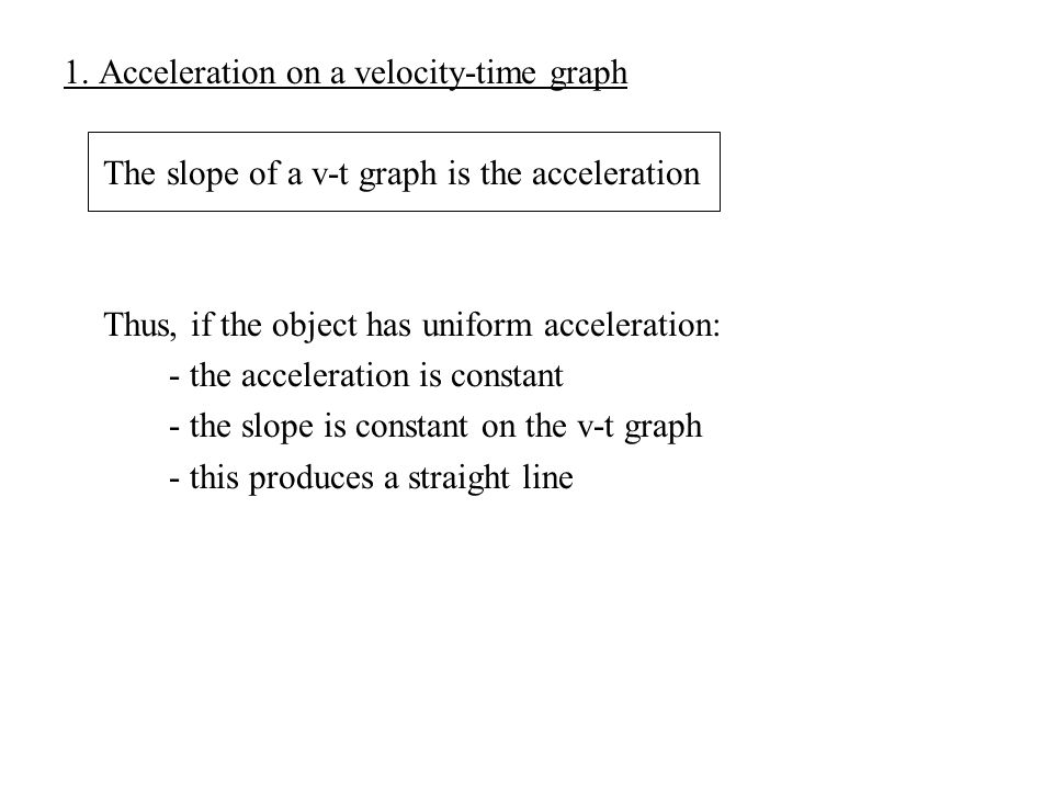 1. Acceleration on a velocity-time graph