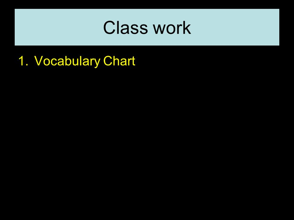 Class work Vocabulary Chart