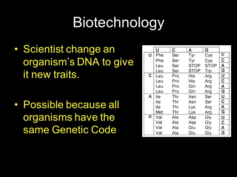 Biotechnology Scientist change an organism's DNA to give it new traits.