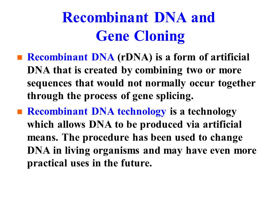 recombinant dna technology pdf book