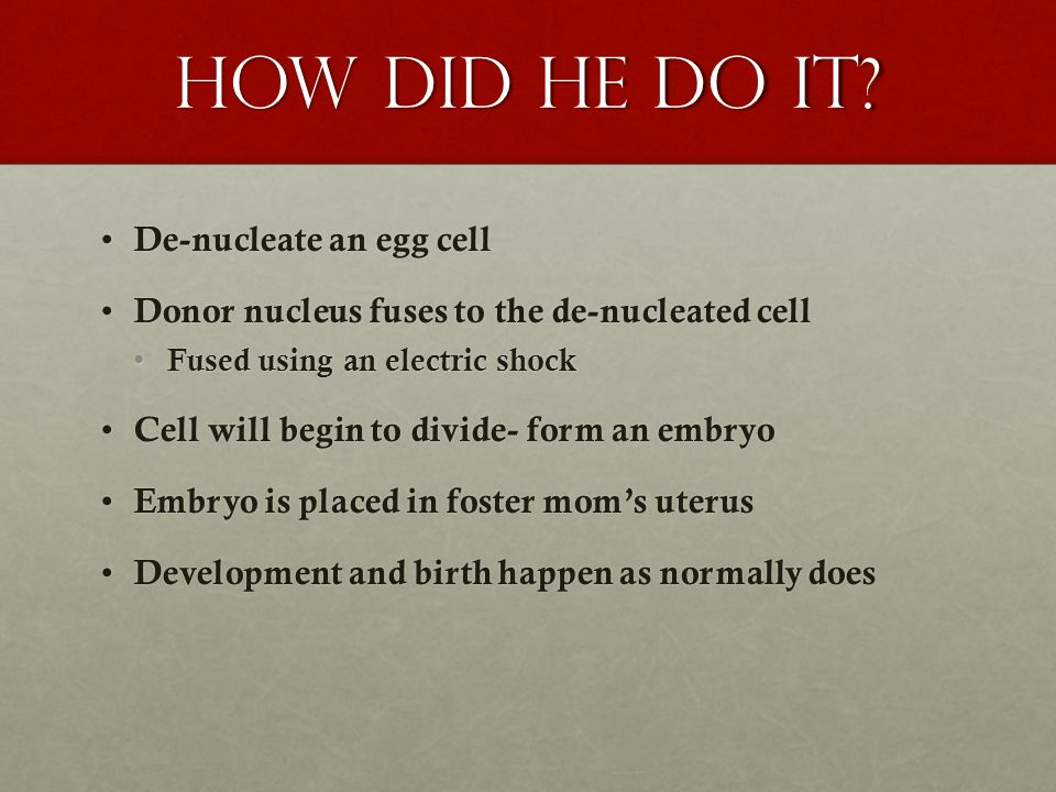 How did he do it De-nucleate an egg cell
