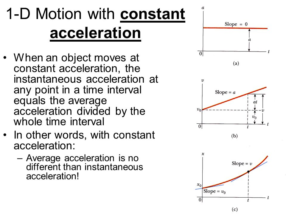 1-D Motion with constant acceleration