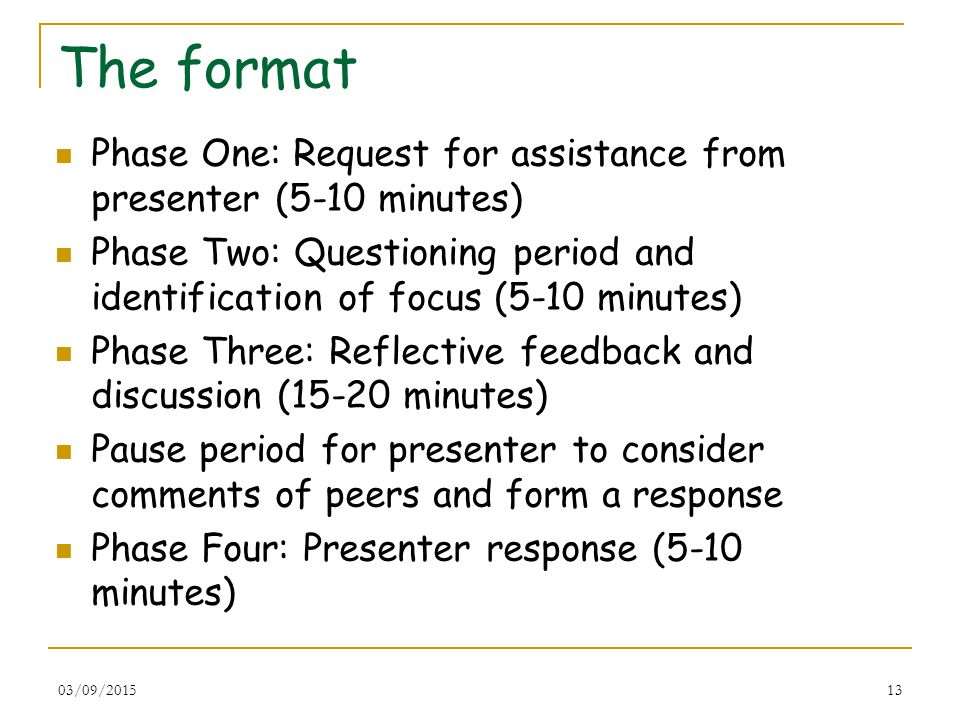 The format Phase One: Request for assistance from presenter (5-10 minutes) Phase Two: Questioning period and identification of focus (5-10 minutes)