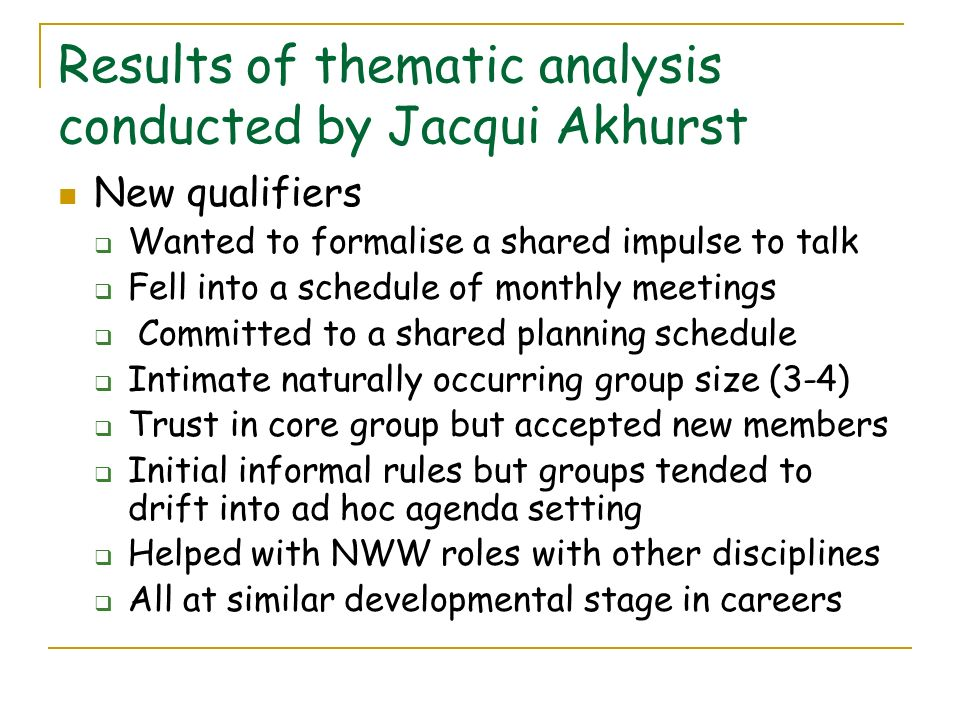 Results of thematic analysis conducted by Jacqui Akhurst
