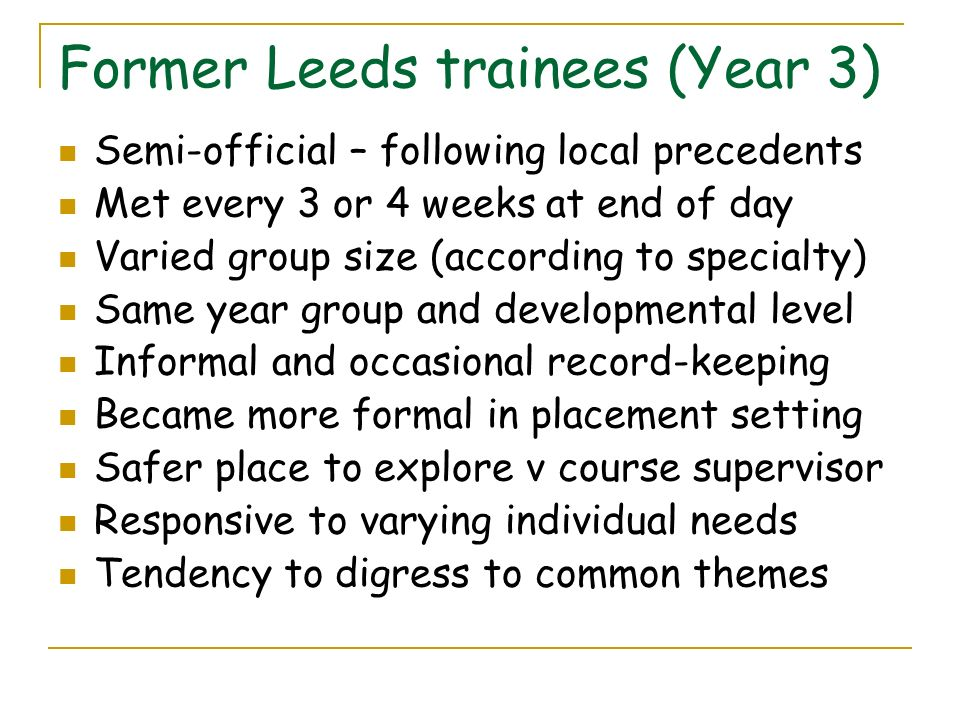 Former Leeds trainees (Year 3)