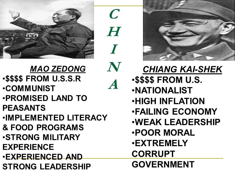 C H I N A CHIANG KAI-SHEK $$$$ FROM U.S. NATIONALIST HIGH INFLATION