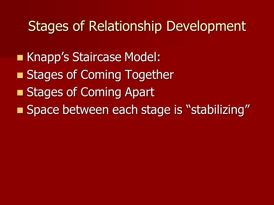 stages of relationship development essay Friendships have different stages of development these stages of friendship development aren't required or someone you have a personal relationship with.