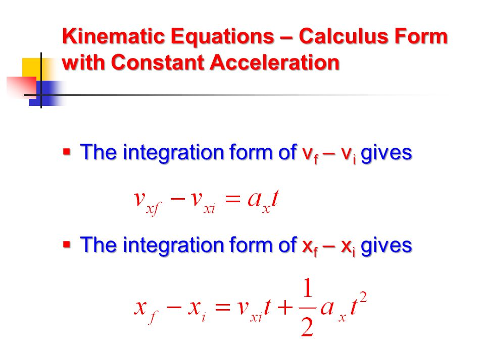 Kinematic Equations – Calculus Form with Constant Acceleration