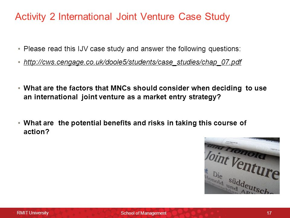 joint venture case study Click to launch & play an online audio visual presentation by dr michael mcdonald on verizon and vodafone: a case study in joint ventures, part of.