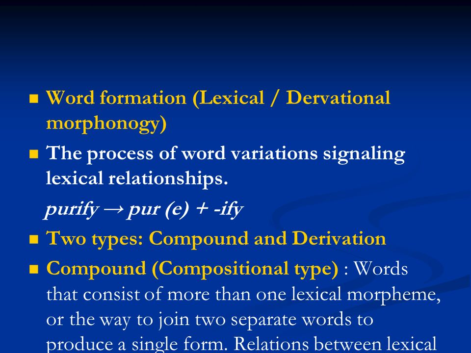 compounding word formation
