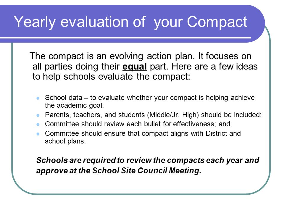 Yearly evaluation of your Compact