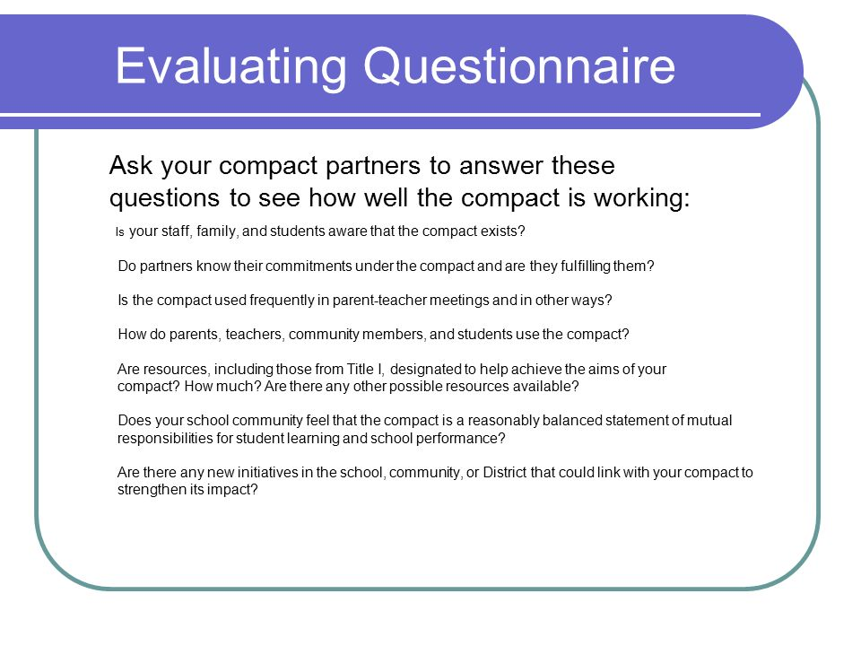 Evaluating Questionnaire