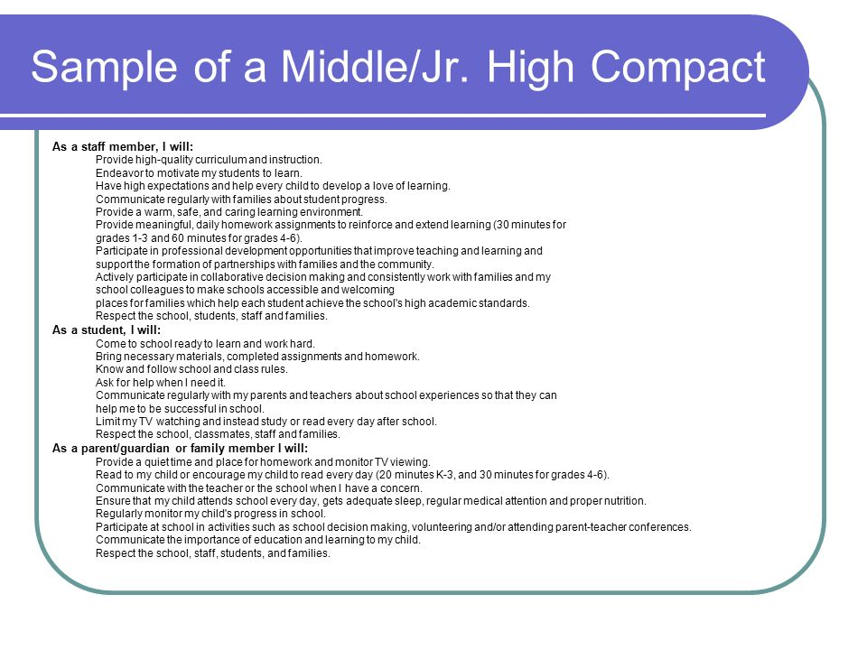 Sample of a Middle/Jr. High Compact