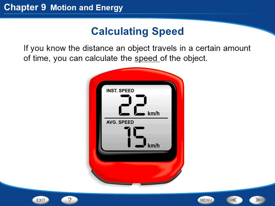 Calculating Speed Chapter 9 Motion and Energy