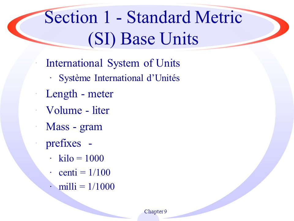 Section 1 - Standard Metric (SI) Base Units