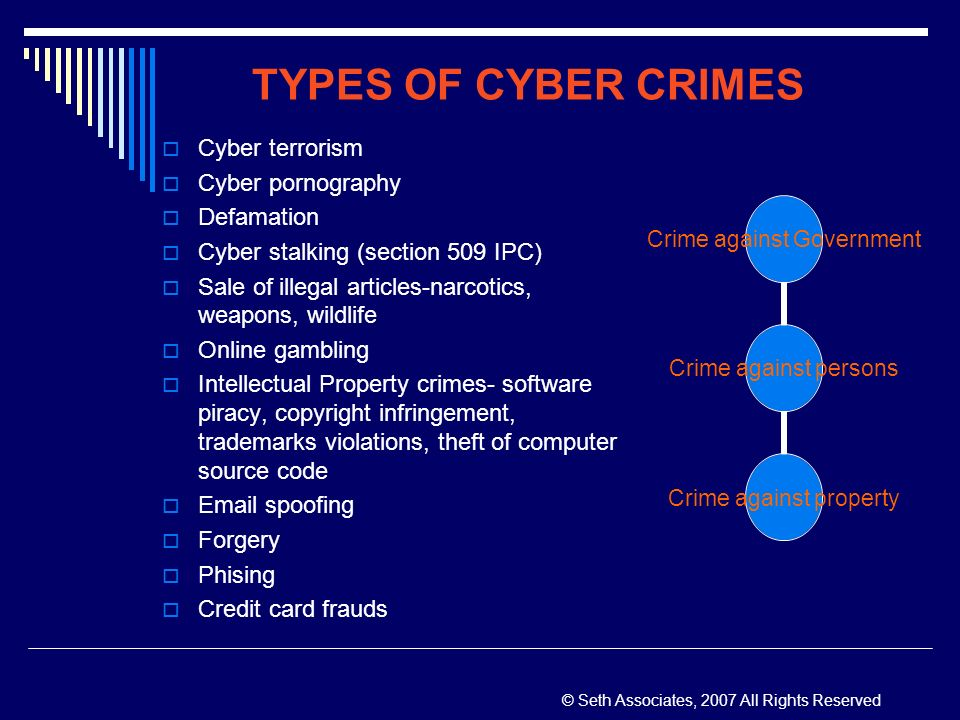the different types of computer crimes Learn about the many different types of internet fraud which can affect your computer.