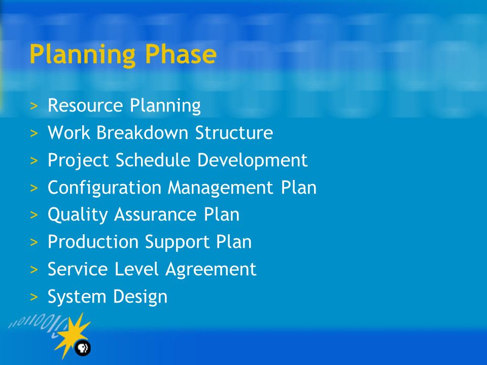 Planning Phase Resource Planning Work Breakdown Structure