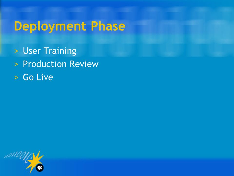 Deployment Phase User Training Production Review Go Live