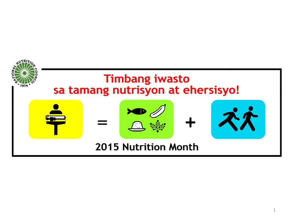Nutrition Month 2015 highlights the problem of overweight and obesity, which both refer to overnutrition, because of their increasing prevalence not only in the country but in the world.