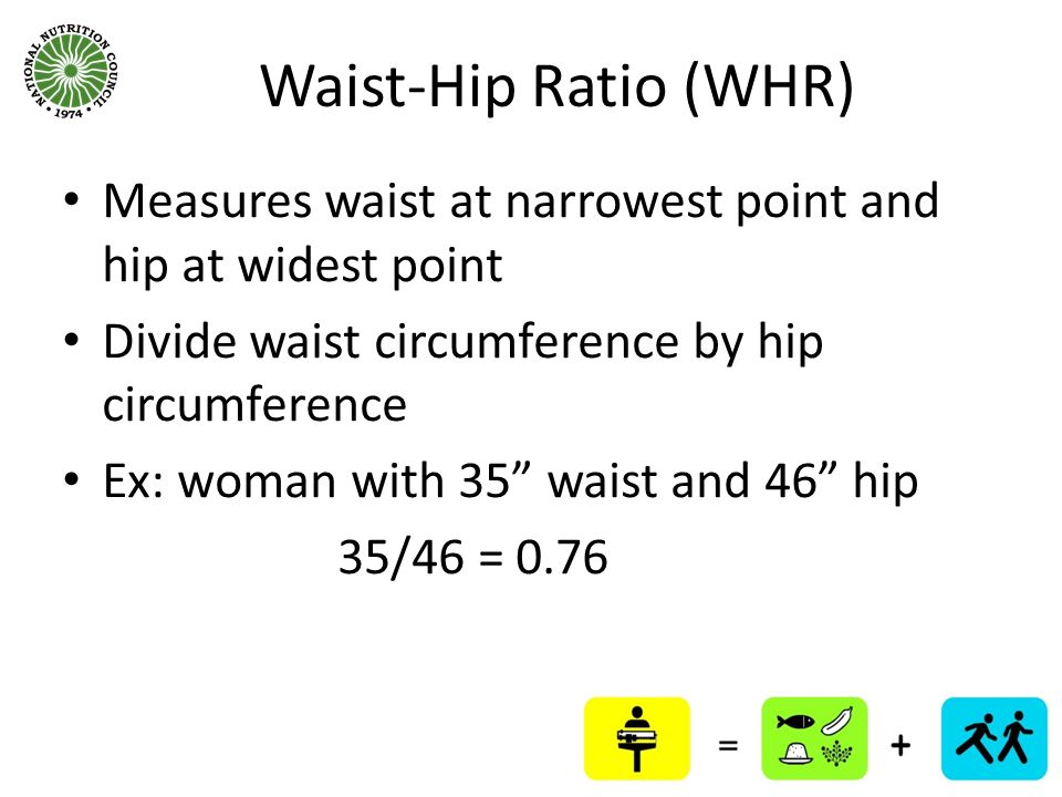 Waist-Hip Ratio (WHR) Measures waist at narrowest point and hip at widest point. Divide waist circumference by hip circumference.