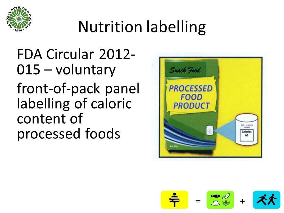 Nutrition labelling FDA Circular 2012-015 – voluntary