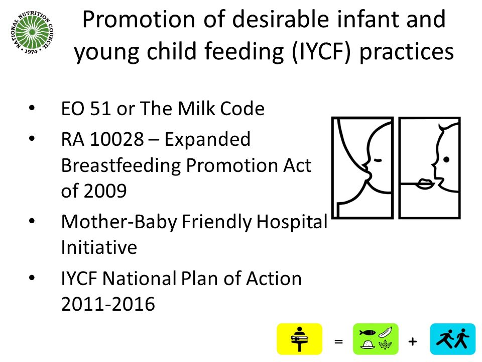 Promotion of desirable infant and young child feeding (IYCF) practices