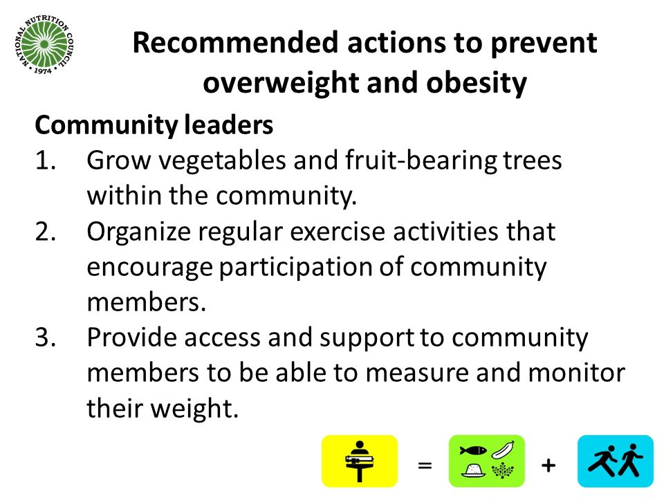 Recommended actions to prevent overweight and obesity