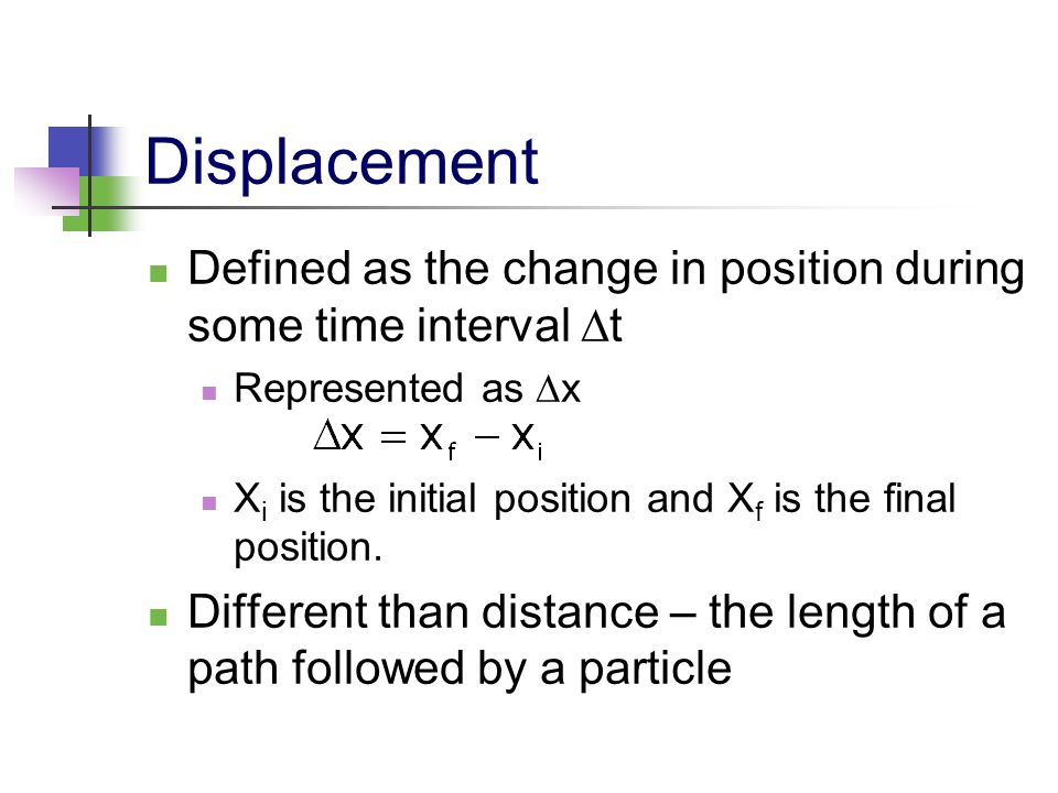 Displacement Defined as the change in position during some time interval Dt. Represented as x.
