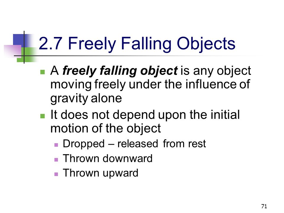 2.7 Freely Falling Objects