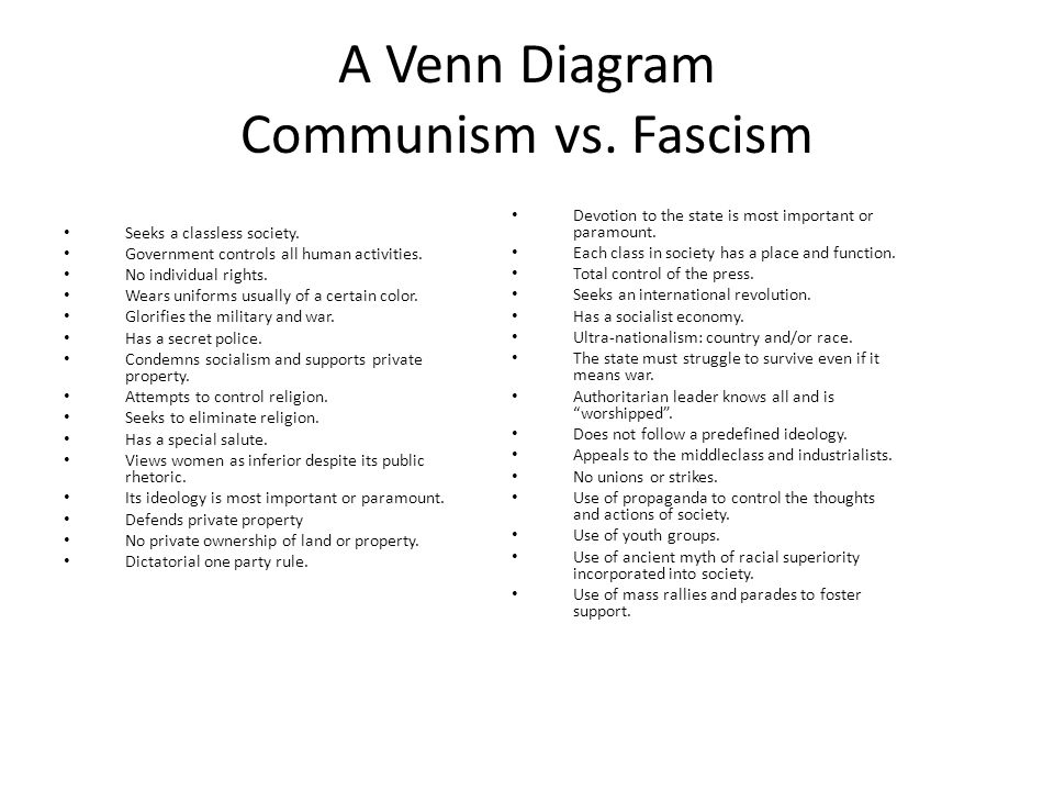 """communism vs fascism essay """"fascism should rightly be called corporatism, as it is the merger of corporate and government power """" this is a direct quote from benito mussolini, and fascism more or less lived up to it."""