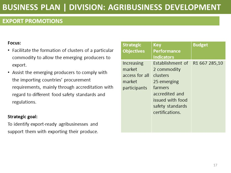 meat export business plan
