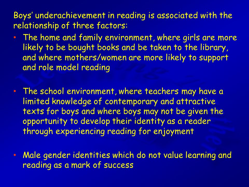 underachievement of men in school Each of these three interlinked themes will be reviewed within this document, which will focus solely upon the reasons which may held accountable for the identified 'underachievement of young men', most notably, at a general certificate of secondary education level (gcse) throughout the british education system, and.