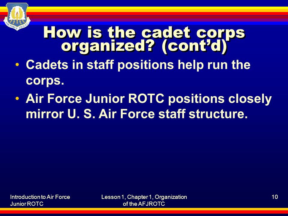 How is the cadet corps organized (cont'd)
