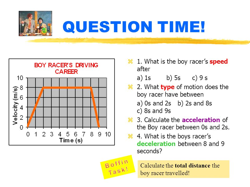 QUESTION TIME! 1. What is the boy racer's speed after